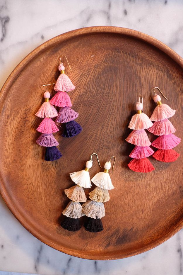DIY Earrings - DIY Multicolor Tassel Earrings - Easy Earring Projects for Studs, Dangle, Hoops, Tassel, Wire Wrap Beads and Handmade Cuff - Vintage, Boho, Beaded, Leather, Fabric andCrochet Ideas - Cheap Gifts for Her - Homemade Jewelry Tutorials With Step By Step Instructions