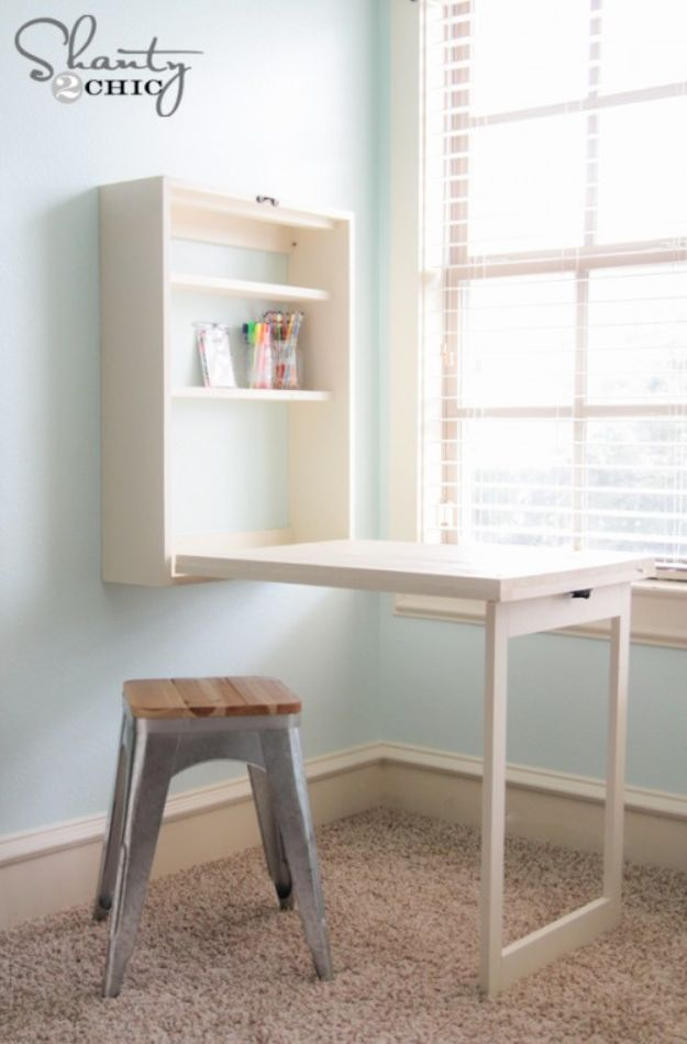 DIY Desks - DIY Murphy Desk - Easy To Make Do It Yourself Desk Projects With Step by Step tutorials - Rustic Wood Pallet, Farmhouse Style Furniture, Modern Design and Upcycling Makeover Project Plans - Standing Computer Desks, Ideas for Small Spaces and Home Office - Cheap Desks With Built In Organization, With Storage, With Hutch and Filing Cabinets http://diyjoy.com/diy-desks