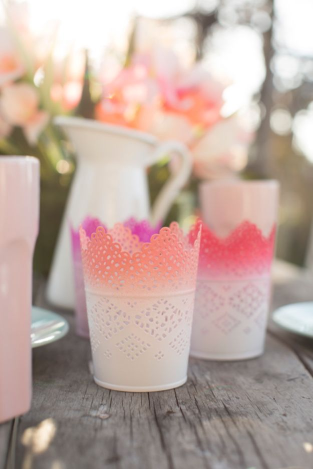 Dollar Tree Wedding Ideas - DIY Ombre Candle Votives - Cheap and Easy Dollar Store Crafts from Your Local Dollar Tree Store - Inexpensive Wedding Decor for the Bride on A Budget - Crafts and Centerpieces, Guest Book, Favors and Decorations You Can Make for Weddings - Pretty, Creative Flowers, Table Decor, Place Cards, Signs and Event Planning Idea