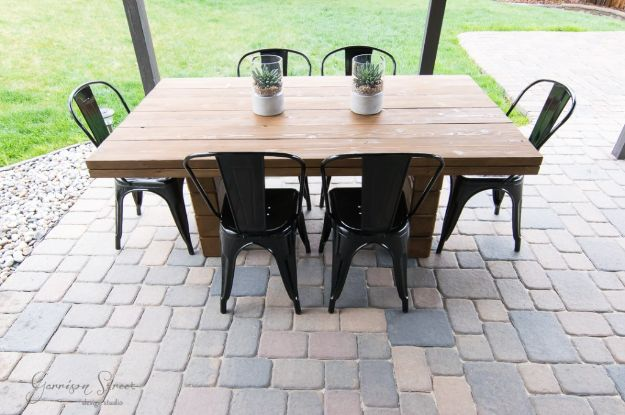 DIY Outdoor Furniture - DIY Outdoor Dining Table - Cheap and Easy Ideas for Patio and Porch Seating and Tables, Chairs, Sofas - How To Make Outdoor Furniture Projects on A Budget - Fmaily Friendly Decor Kids Love - Quick Projects to Make This Weekend - Swings, Pallet Tables, End Tables, Rocking Chairs, Daybeds and Benches http://diyjoy.com/diy-outdoor-furniture