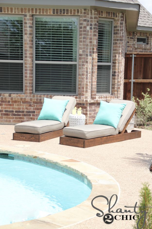 DIY Outdoor Furniture - DIY Outdoor Lounge Chairs - Cheap and Easy Ideas for Patio and Porch Seating and Tables, Chairs, Sofas - How To Make Outdoor Furniture Projects on A Budget - Fmaily Friendly Decor Kids Love - Quick Projects to Make This Weekend - Swings, Pallet Tables, End Tables, Rocking Chairs, Daybeds and Benches http://diyjoy.com/diy-outdoor-furniture