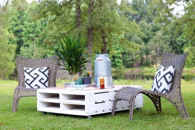 DIY Pallet Outdoor Coffee DIY Outdoor Furniture - DIY Pallet Outdoor Coffee Table - Cheap and Easy Ideas for Patio and Porch Seating and Tables, Chairs, Sofas - How To Make Outdoor Furniture Projects on A Budget - Fmaily Friendly Decor Kids Love - Quick Projects to Make This Weekend - Swings, Pallet Tables, End Tables, Rocking Chairs, Daybeds and Benches http://diyjoy.com/diy-outdoor-furniture