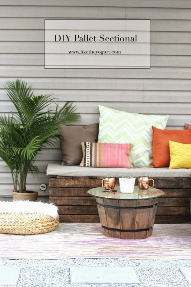 DIY Outdoor Furniture - DIY Pallet Sectional For Outdoor - Cheap and Easy Ideas for Patio and Porch Seating and Tables, Chairs, Sofas - How To Make Outdoor Furniture Projects on A Budget - Fmaily Friendly Decor Kids Love - Quick Projects to Make This Weekend - Swings, Pallet Tables, End Tables, Rocking Chairs, Daybeds and Benches http://diyjoy.com/diy-outdoor-furniture