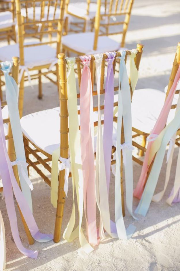 Dollar Tree Wedding Ideas - DIY Pastel Chair Ribbons - Cheap and Easy Dollar Store Crafts from Your Local Dollar Tree Store - Inexpensive Wedding Decor for the Bride on A Budget - Crafts and Centerpieces, Guest Book, Favors and Decorations You Can Make for Weddings - Pretty, Creative Flowers, Table Decor, Place Cards, Signs and Event Planning Idea