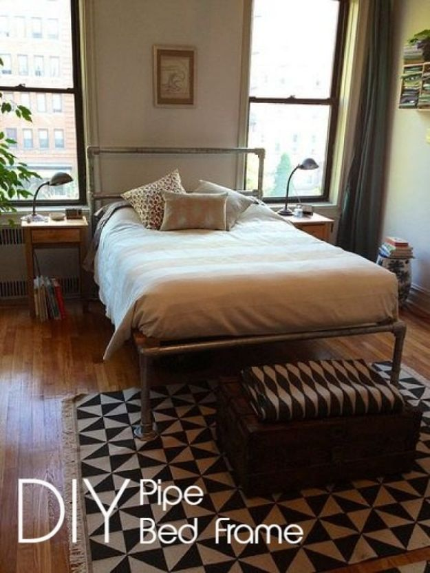 DIY Bed Frames - DIY Pipe Bed Frame - How To Make a Headboard - Do It Yourself Projects for Platform Beds, Twin, King, Queen and Full Bed - Kids Rooms, Drawers and Storage Units, Bookshelf step by step tutorial free plans