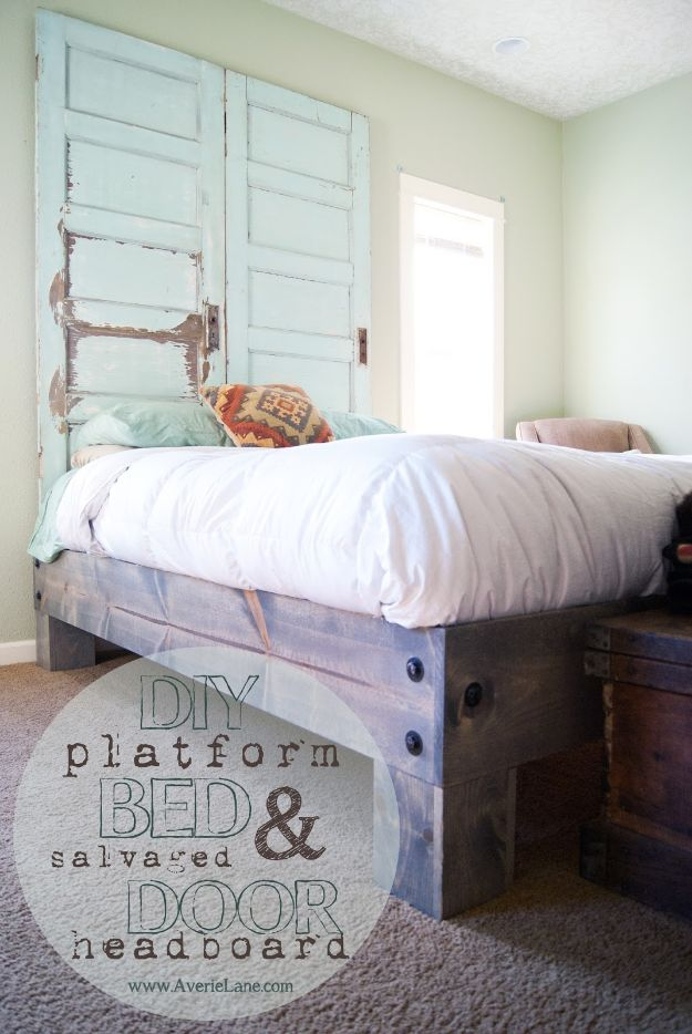 DIY Bed Frames - DIY Platform Bed & Salvaged Door Headboard - How To Make a Headboard - Do It Yourself Projects for Platform Beds, Twin, King, Queen and Full Bed - Kids Rooms, Drawers and Storage Units, Bookshelf step by step tutorial free plans