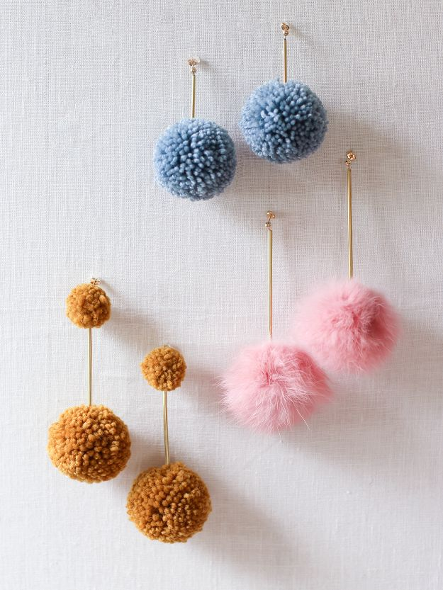 DIY Earrings - DIY Pom Pom Earrings - Easy Earring Projects for Studs, Dangle, Hoops, Tassel, Wire Wrap Beads and Handmade Cuff - Vintage, Boho, Beaded, Leather, Fabric andCrochet Ideas - Cheap Gifts for Her - Homemade Jewelry Tutorials With Step By Step Instructions
