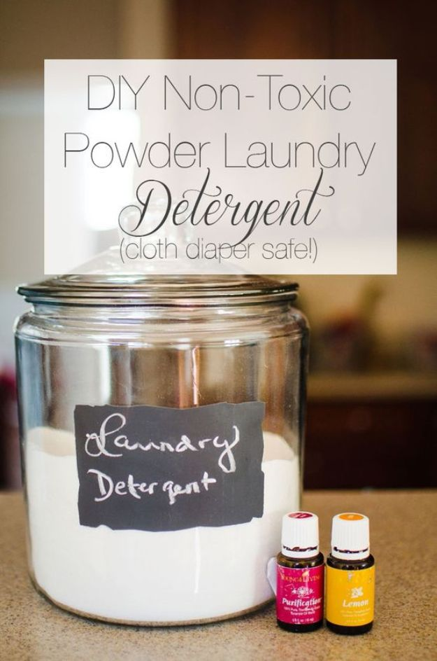 Laundry Detergent Recipes - DIY Powder Laundry Detergent - DIY Detergents and Cleaning Recipe Tutorials for Homemade Inexpensive Cleaners You Can Make At Home - Scented Powder and Liquid for He Washer - Save Money With These Cheap Ideas - Natural Products With Essential Oils - Baby, Sensitive Skin Detergent Free Ideas http://diyjoy.com/diy-laundry-detergent-recipes