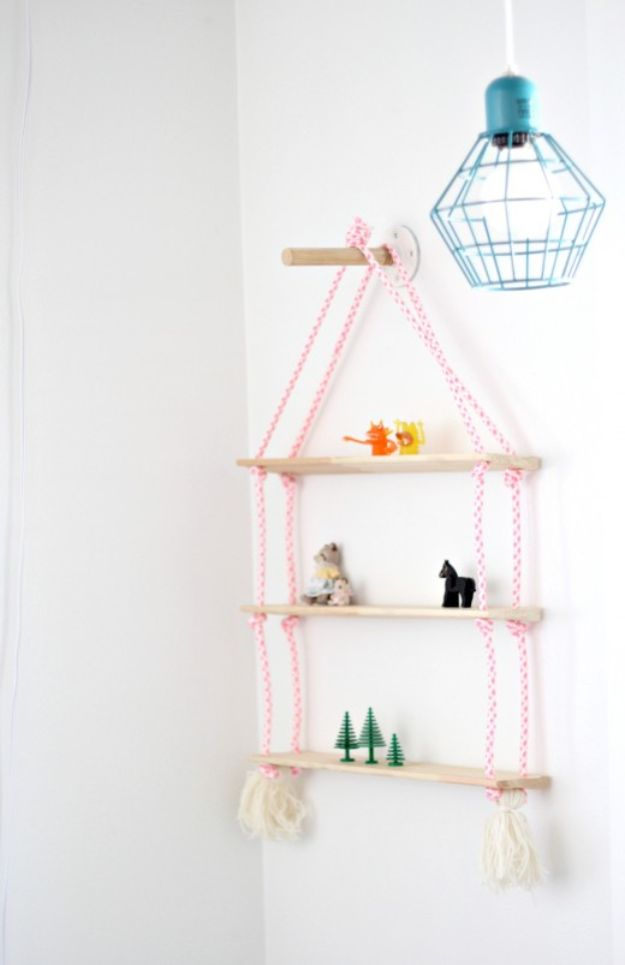 DIY Nursery Decor - DIY Rope Shelving - Easy Projects to Make for Baby Room - Decorations for Boy and Girl Rooms, Unisex, Minimalist and Modern Nurseries and Rustic, Farmhouse Style - All White, Pink, Blue, Yellow and Green - Cribs, Bedding, Wall Art and Hangings, Rocking Chairs, Pillows, Changing Tables, Storage and Bassinet for Baby #diybaby #babygifts #nurserydecor