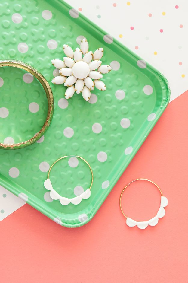 DIY Earrings - DIY Scalloped Statement Hoop Earrings - Easy Earring Projects for Studs, Dangle, Hoops, Tassel, Wire Wrap Beads and Handmade Cuff - Vintage, Boho, Beaded, Leather, Fabric andCrochet Ideas - Cheap Gifts for Her - Homemade Jewelry Tutorials With Step By Step Instructions http://diyjoy.com/diy-earrings