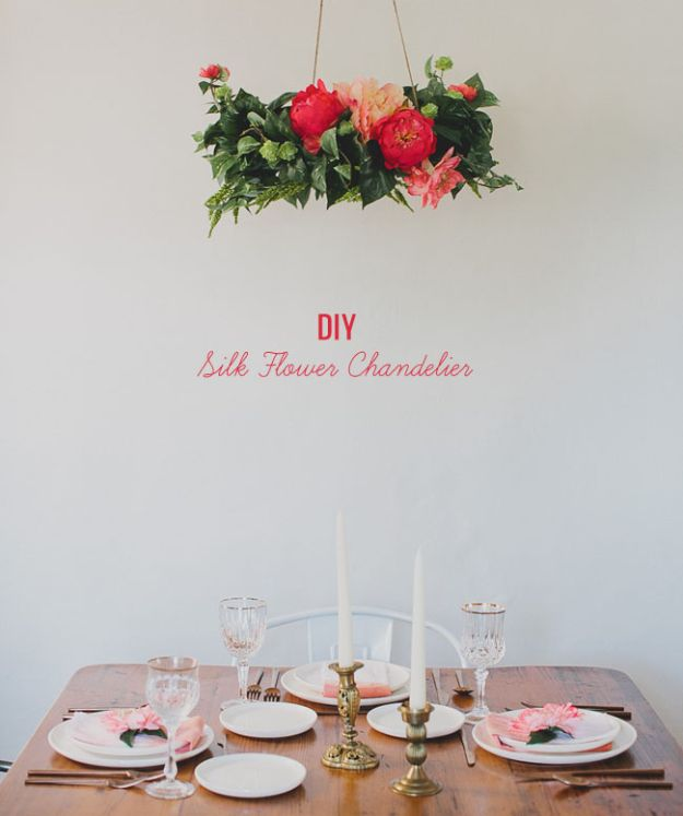 Dollar Tree Wedding Ideas - DIY Silk Flower Chandelier - Cheap and Easy Dollar Store Crafts from Your Local Dollar Tree Store - Inexpensive Wedding Decor for the Bride on A Budget - Crafts and Centerpieces, Guest Book, Favors and Decorations You Can Make for Weddings - Pretty, Creative Flowers, Table Decor, Place Cards, Signs and Event Planning Idea