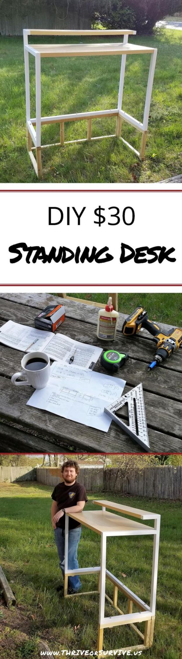 DIY Desks - DIY Standing Desk Transformation - Easy To Make Do It Yourself Desk Projects With Step by Step tutorials - Rustic Wood Pallet, Farmhouse Style Furniture, Modern Design and Upcycling Makeover Project Plans - Standing Computer Desks, Ideas for Small Spaces and Home Office - Cheap Desks With Built In Organization, With Storage, With Hutch and Filing Cabinets http://diyjoy.com/diy-desks