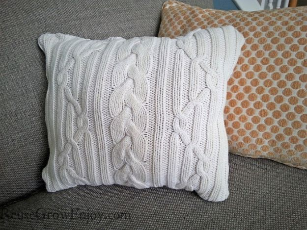 Sewing Projects for Beginners - DIY Sweater Pillow - Easy Sewing Project Ideas and Free Patterns for Basic Clothing, Kids Clothes, Quick Baby Gifts, DIY Bags, Sewing Crafts to Make and Sell on Etsy - Scarf Tutorial, Blankets, Stuffed Animals, Home Decor and Linens, Curtains and Bedding, Hand Sewn and Maching Made Items That You Can Sew For Cute Christmas Presents - Creative Sewing Craft Ideas for Women and Men http://diyjoy.com/sewing-projects-for-beginners