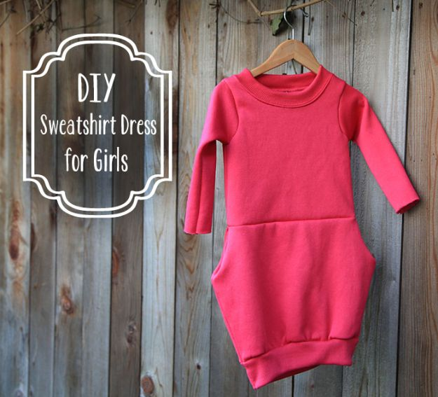 DIY Clothes for Fall - DIY Sweatshirt Dress for Girls - No Sew and Easy Designer Fashion Copycats - Tutorials for Making Your Own Clothing - Update Your Fall Wardrobe With These Cheap Shirts, Dresses, Skirts, Shoes, Scarves, Sweaters, Hats, Wraps, Coats and Bags - How To Dress For Success on A Budget - Free Sewing Tutorials for Beginners and Quick Fashion Upcycles for New Looks in 2020