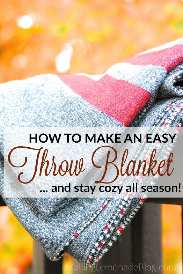 Sewing Projects for Beginners - DIY Throw Blanket - Easy Sewing Project Ideas and Free Patterns for Basic Clothing, Kids Clothes, Quick Baby Gifts, DIY Bags, Sewing Crafts to Make and Sell on Etsy - Scarf Tutorial, Blankets, Stuffed Animals, Home Decor and Linens, Curtains and Bedding, Hand Sewn cute christmas gifts to sew