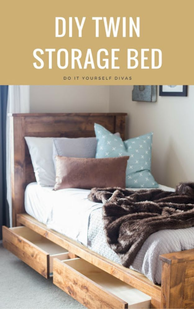 DIY Bed Frames - DIY Twin Storage Bed - How To Make a Headboard - Do It Yourself Projects for Platform Beds, Twin, King, Queen and Full Bed - Kids Rooms, Drawers and Storage Units, Bookshelf step by step tutorial free plans