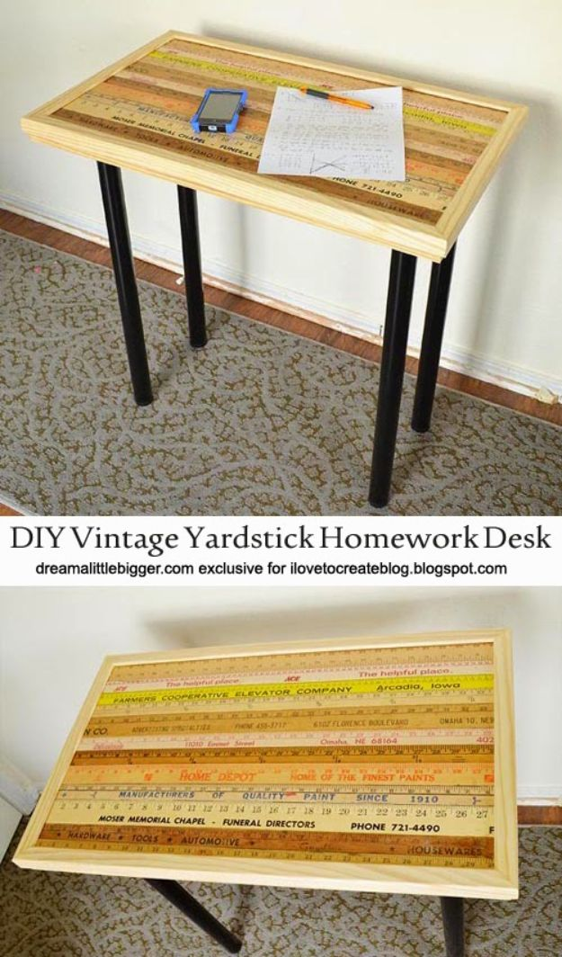 DIY Desks - DIY Vintage Yardstick Homework Desk - Easy To Make Do It Yourself Desk Projects With Step by Step tutorials - Rustic Wood Pallet, Farmhouse Style Furniture, Modern Design and Upcycling Makeover Project Plans - Standing Computer Desks, Ideas for Small Spaces and Home Office - Cheap Desks With Built In Organization, With Storage, With Hutch and Filing Cabinets DIY Desks - DIY Standing Desk Transformation - Easy To Make Do It Yourself Desk Projects With Step by Step tutorials - Rustic Wood Pallet, Farmhouse Style Furniture, Modern Design and Upcycling Makeover Project Plans - Standing Computer Desks, Ideas for Small Spaces and Home Office - Cheap Desks With Built In Organization, With Storage, With Hutch and Filing Cabinets