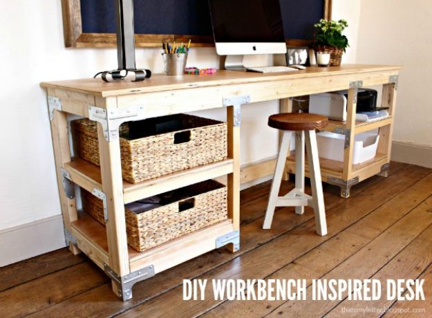 DIY Desks - DIY Workbench Inspired Desk - Easy To Make Do It Yourself Desk Projects With Step by Step tutorials - Rustic Wood Pallet, Farmhouse Style Furniture, Modern Design and Upcycling Makeover Project Plans - Standing Computer Desks, Ideas for Small Spaces and Home Office - Cheap Desks With Built In Organization, With Storage, With Hutch and Filing Cabinets DIY Desks - DIY Standing Desk Transformation - Easy To Make Do It Yourself Desk Projects With Step by Step tutorials - Rustic Wood Pallet, Farmhouse Style Furniture, Modern Design and Upcycling Makeover Project Plans - Standing Computer Desks, Ideas for Small Spaces and Home Office - Cheap Desks With Built In Organization, With Storage, With Hutch and Filing Cabinets