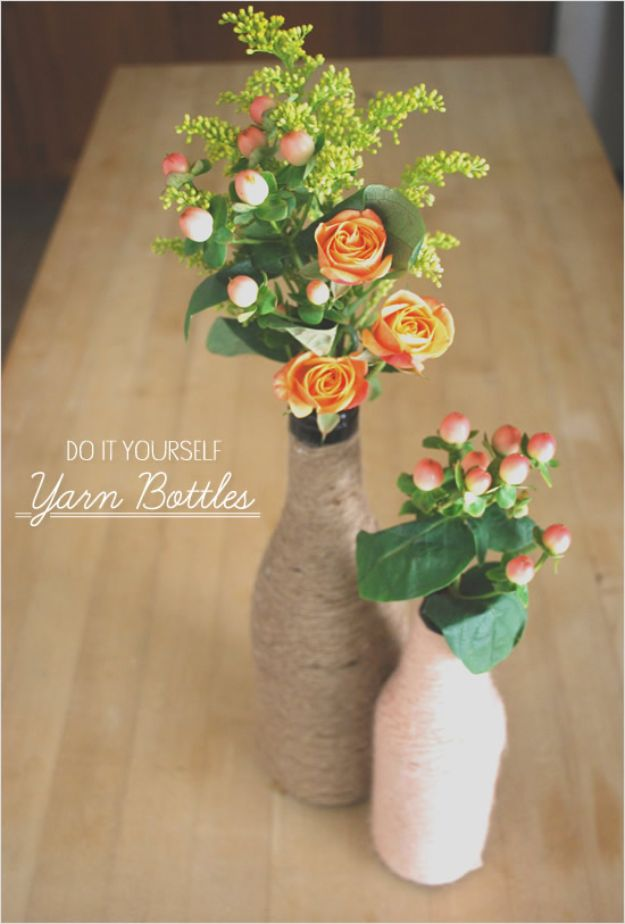 Dollar Tree Wedding Ideas - DIY Yarn Wrapped Bottles - Cheap and Easy Dollar Store Crafts from Your Local Dollar Tree Store - Inexpensive Wedding Decor for the Bride on A Budget - Crafts and Centerpieces, Guest Book, Favors and Decorations You Can Make for Weddings - Pretty, Creative Flowers, Table Decor, Place Cards, Signs and Event Planning Idea