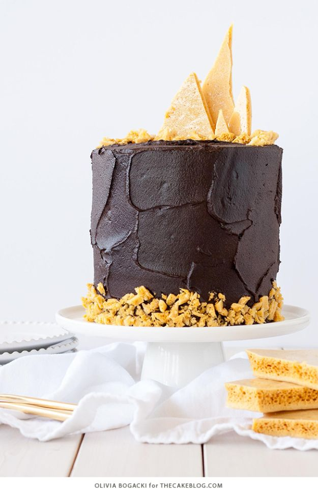 DIY Birthday Cakes - Dark Chocolate Honeycomb Cake - How To Make A Birthday Cake With Step by Step Tutorial - Bake Homemade Cakes for Special Occasions and Birthdays With These Best Birthday Cake Recipes - Fancy Chocolate, Basic Vanilla Buttercream easy cakes recipes birthdays