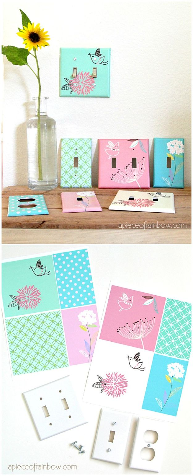 DIY Nursery Decor - Decoupage Outlet Covers - Easy Projects to Make for Baby Room - Decorations for Boy and Girl Rooms, Unisex, Minimalist and Modern Nurseries and Rustic, Farmhouse Style - All White, Pink, Blue, Yellow and Green - Cribs, Bedding, Wall Art and Hangings, Rocking Chairs, Pillows, Changing Tables, Storage and Bassinet for Baby http://diyjoy.com/diy-nursery-decor