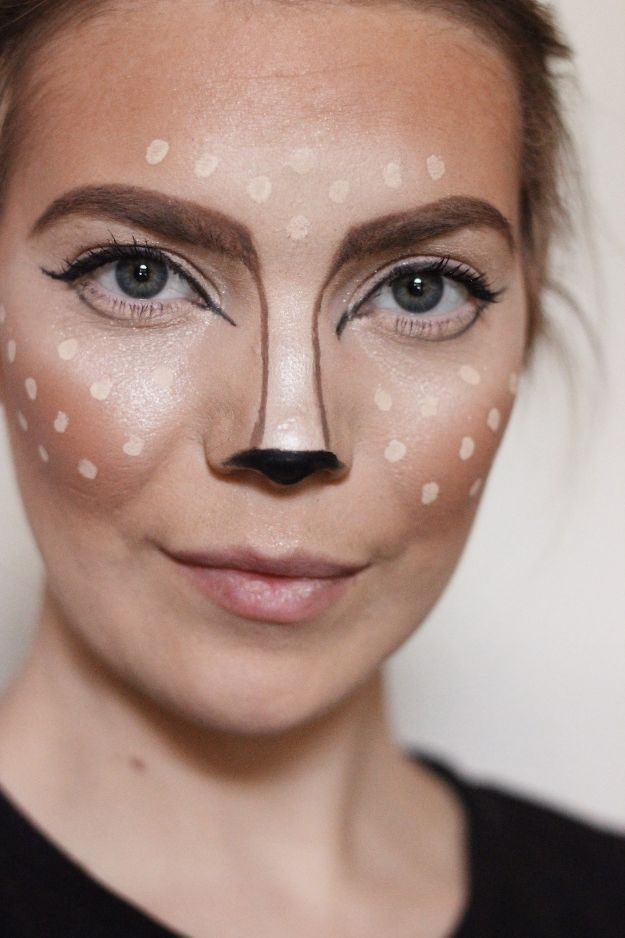 Best Halloween Makeup Tutorials - Easy Halloween Deer Makeup - Easy Makeup Tips and Tutorial Ideas for The Best Halloween Costume - Animals, Eyes, Creative Faces, Simple and Scary Ghosts, Skeletons and Creatures - Zombie Makeup, Cute Looks, DIY Vampire, Gypsy, Mermaid and Creepy Sugar Skull, Cool Glam Looks for A Halloween Party and Instagram Photos - Ideas for Couples and Kids