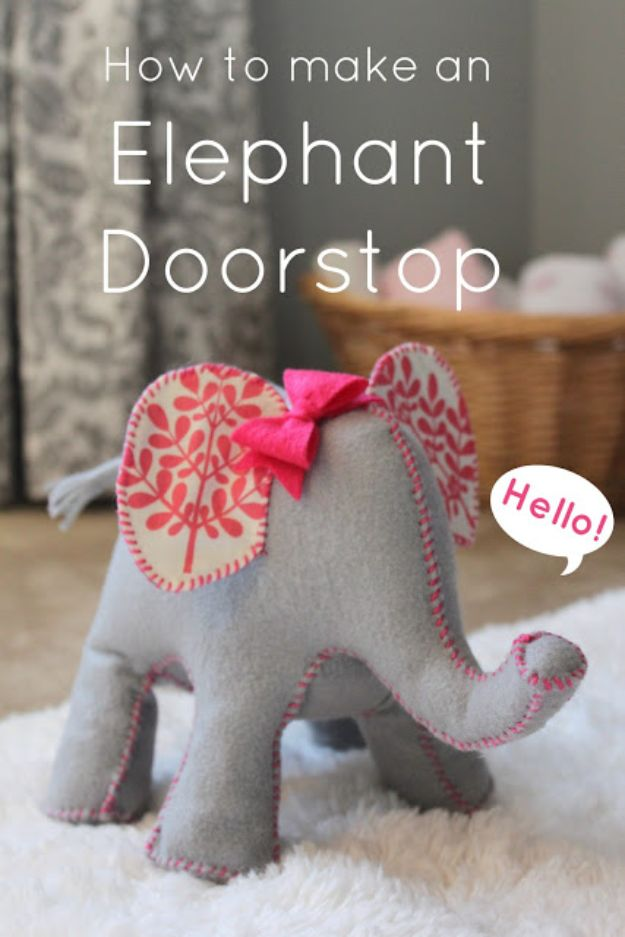 DIY Nursery Decor - Elephant Doorstop - Easy Projects to Make for Baby Room - Decorations for Boy and Girl Rooms, Unisex, Minimalist and Modern Nurseries and Rustic, Farmhouse Style - All White, Pink, Blue, Yellow and Green - Cribs, Bedding, Wall Art and Hangings, Rocking Chairs, Pillows, Changing Tables, Storage and Bassinet for Baby http://diyjoy.com/diy-nursery-decor