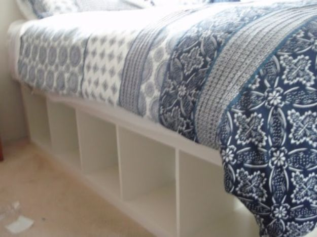 DIY Bed Frames - Expedit Re-purposed as Bed Frame for Maximum Storage - How To Make a Headboard - Do It Yourself Projects for Platform Beds, Twin, King, Queen and Full Bed - Kids Rooms, Drawers and Storage Units, Bookshelf - Rustic, Farmhouse Style Furniture For Your Bedroom, Modern Decor, Cheap and Easy Ways to Make a Bed With Step by Step Tutorial and Free Plans http://diyjoy.com/diy-bed-frames