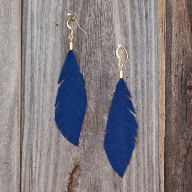 DIY Earrings - Fabric Feather Earrings - Easy Earring Projects for Studs, Dangle, Hoops, Tassel, Wire Wrap Beads and Handmade Cuff - Vintage, Boho, Beaded, Leather, Fabric andCrochet Ideas - Cheap Gifts for Her - Homemade Jewelry Tutorials With Step By Step Instructions