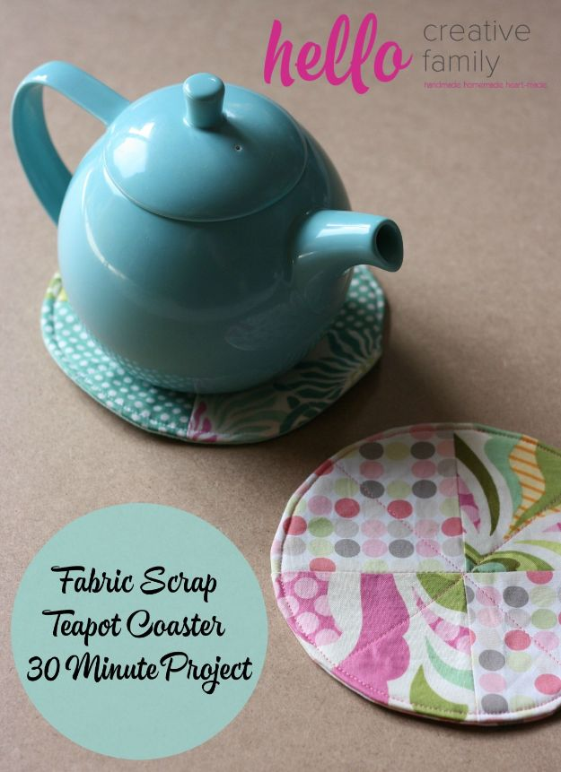 Sewing Projects for Beginners - Fabric Scrap Teapot Coaster - Easy Sewing Project Ideas and Free Patterns for Basic Clothing, Kids Clothes, Quick Baby Gifts, DIY Bags, Sewing Crafts to Make and Sell on Etsy - Scarf Tutorial, Blankets, Stuffed Animals, Home Decor and Linens, Curtains and Bedding, Hand Sewn cute christmas gifts to sew