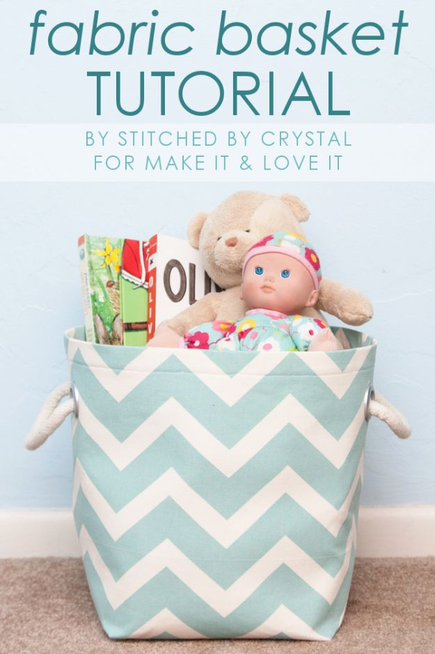 Cute DIY Nursery Decor - Fabric Storage Basket - Easy Projects to Make for Baby Room - Decorations for Boy and Girl Rooms, Unisex, Minimalist and Modern Nurseries and Rustic, Farmhouse Style - All White, Pink, Blue, Yellow and Green - Cribs, Bedding, Wall Art and Hangings, Rocking Chairs, Pillows, Changing Tables, Storage and Bassinet for Baby #diybaby #babygifts #nurserydecor