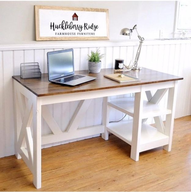 DIY Desks - Farmhouse X Office Desk - Easy To Make Do It Yourself Desk Projects With Step by Step tutorials - Rustic Wood Pallet, Farmhouse Style Furniture, Modern Design and Upcycling Makeover Project Plans - Standing Computer Desks, Ideas for Small Spaces and Home Office - Cheap Desks With Built In Organization, With Storage, With Hutch and Filing Cabinets