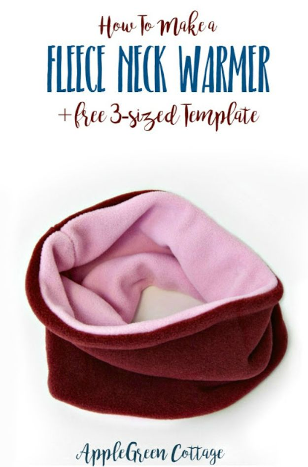 Sewing Projects for Beginners - Fleece Neckwarmer - Easy Sewing Project Ideas and Free Patterns for Basic Clothing, Kids Clothes, Quick Baby Gifts, DIY Bags, Sewing Crafts to Make and Sell on Etsy - Scarf Tutorial, Blankets, Stuffed Animals, Home Decor and Linens, Curtains and Bedding, Hand Sewn cute christmas gifts to sew