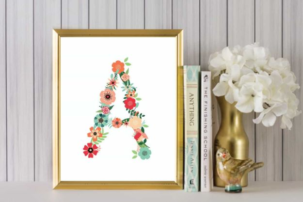 DIY Nursery Decor - Floral Alphabet Printable Art - Easy Projects to Make for Baby Room - Decorations for Boy and Girl Rooms, Unisex, Minimalist and Modern Nurseries and Rustic, Farmhouse Style - All White, Pink, Blue, Yellow and Green - Cribs, Bedding, Wall Art and Hangings, Rocking Chairs, Pillows, Changing Tables, Storage and Bassinet for Baby http://diyjoy.com/diy-nursery-decor