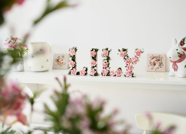 DIY Nursery Decor - Floral Name DIY - Easy Projects to Make for Baby Room - Decorations for Boy and Girl Rooms, Unisex, Minimalist and Modern Nurseries and Rustic, Farmhouse Style - All White, Pink, Blue, Yellow and Green - Cribs, Bedding, Wall Art and Hangings, Rocking Chairs, Pillows, Changing Tables, Storage and Bassinet for Baby #diybaby #babygifts #nurserydecor