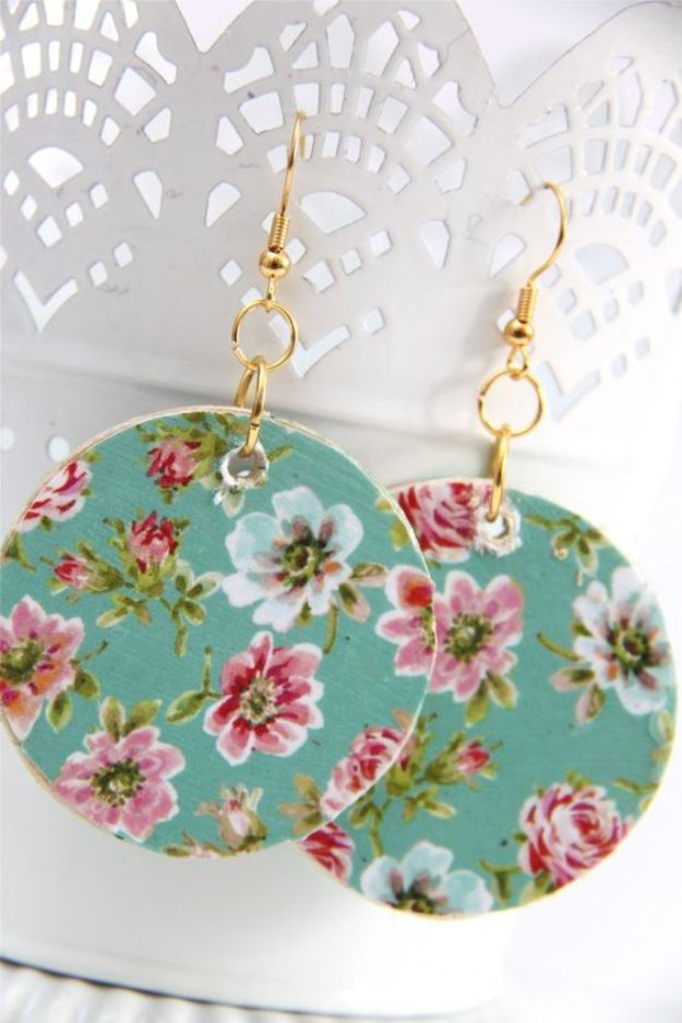 DIY Earrings - Floral Wooden Circle Earrings - Easy Earring Projects for Studs, Dangle, Hoops, Tassel, Wire Wrap Beads and Handmade Cuff - Vintage, Boho, Beaded, Leather, Fabric andCrochet Ideas - Cheap Gifts for Her - Homemade Jewelry Tutorials With Step By Step Instructions