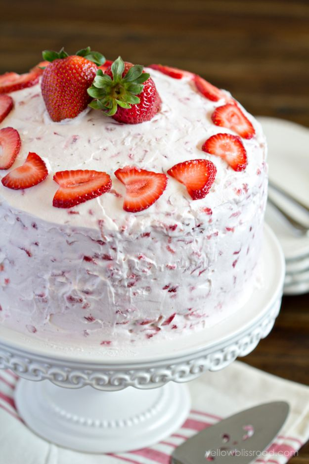 DIY Birthday Cakes - Fresh Strawberry Cake - How To Make A Birthday Cake With Step by Step Tutorial - Bake Homemade Cakes for Special Occasions and Birthdays With These Best Birthday Cake Recipes - Fancy Chocolate, Basic Vanilla Buttercream easy cakes recipes birthdays
