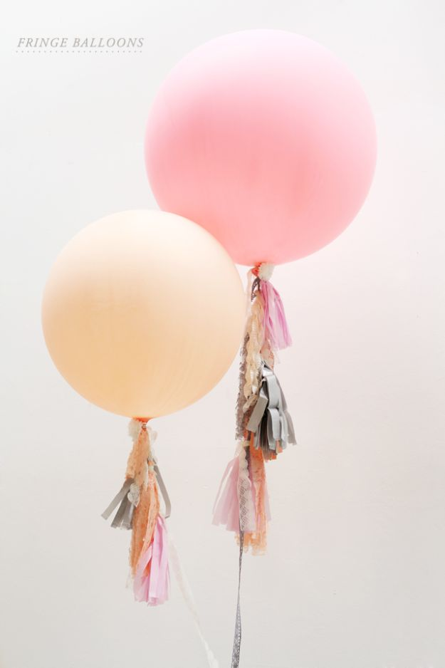 Dollar Tree Cheap DIY Wedding Decorations - Fringe Balloons DIY - Cheap and Easy Dollar Store Crafts from Your Local Dollar Tree Store - Inexpensive Wedding Decor for the Bride on A Budget - Crafts and Centerpieces, Guest Book, Favors and Decorations You Can Make for Weddings - Pretty, Creative Flowers, Table Decor, Place Cards, Signs and Event Planning Ideas for the Bride on a Budget