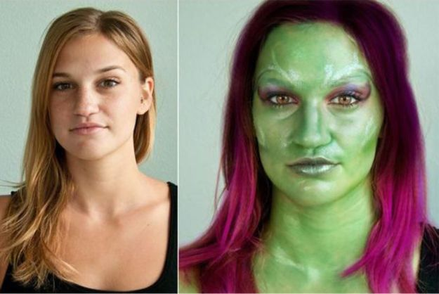 Best Halloween Makeup Tutorials - Gamora of Guardians of the Galaxy Makeup - Easy Makeup Tips and Tutorial Ideas for The Best Halloween Costume - Animals, Eyes, Creative Faces, Simple and Scary Ghosts, Skeletons and Creatures - Zombie Makeup, Cute Looks, DIY Vampire, Gypsy, Mermaid and Creepy Sugar Skull, Cool Glam Looks for A Halloween Party and Instagram Photos - Ideas for Couples and Kids http://diyjoy.com/best-halloween-makeup-tutorials