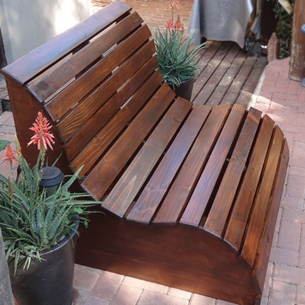 DIY Outdoor Furniture - Garden Slat Bench - Cheap and Easy Ideas for Patio and Porch Seating and Tables, Chairs, Sofas - How To Make Outdoor Furniture Projects on A Budget - Fmaily Friendly Decor Kids Love - Quick Projects to Make This Weekend - Swings, Pallet Tables, End Tables, Rocking Chairs, Daybeds and Benches http://diyjoy.com/diy-outdoor-furniture