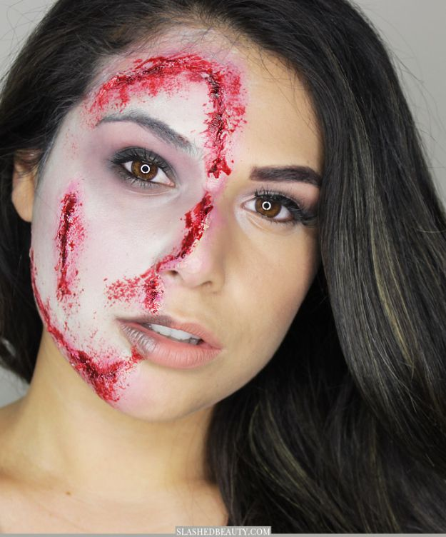 Best Halloween Makeup Tutorials - Glam Half Zombie Halloween Makeup - Easy Makeup Tips and Tutorial Ideas for The Best Halloween Costume - Animals, Eyes, Creative Faces, Simple and Scary Ghosts, Skeletons and Creatures - Zombie Makeup, Cute Looks, DIY Vampire, Gypsy, Mermaid and Creepy Sugar Skull, Cool Glam Looks for A Halloween Party and Instagram Photos - Ideas for Couples and Kids http://diyjoy.com/best-halloween-makeup-tutorials
