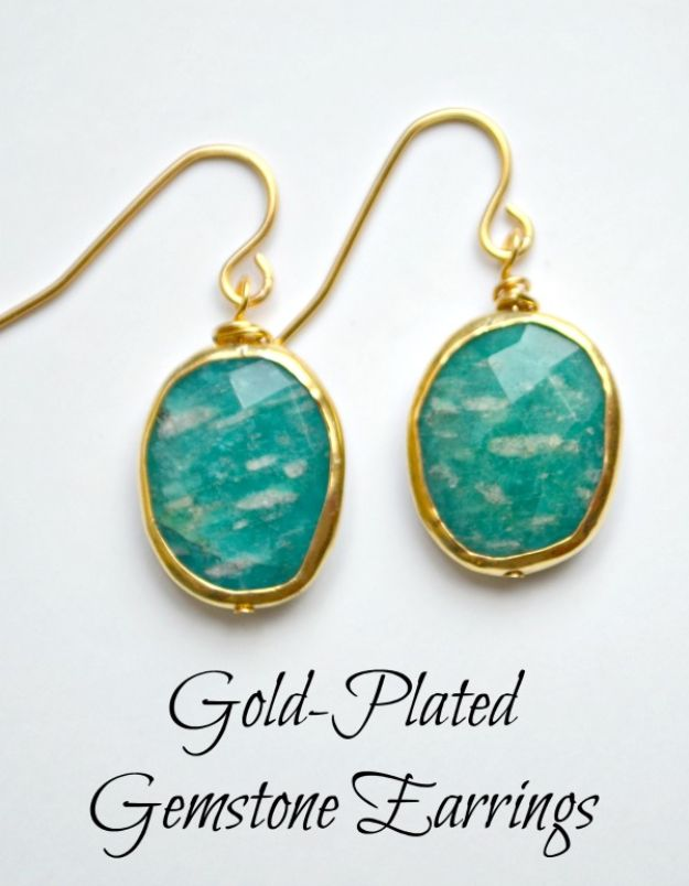 DIY Earrings - Gold Plated Gemstone Earrings - Easy Earring Projects for Studs, Dangle, Hoops, Tassel, Wire Wrap Beads and Handmade Cuff - Vintage, Boho, Beaded, Leather, Fabric andCrochet Ideas - Cheap Gifts for Her - Homemade Jewelry Tutorials With Step By Step Instructions