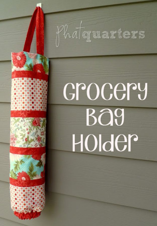 Sewing Projects for Beginners - Grocery Bag Holders - Easy Sewing Project Ideas and Free Patterns for Basic Clothing, Kids Clothes, Quick Baby Gifts, DIY Bags, Sewing Crafts to Make and Sell on Etsy - Scarf Tutorial, Blankets, Stuffed Animals, Home Decor and Linens, Curtains and Bedding, Hand Sewn cute christmas gifts to sew