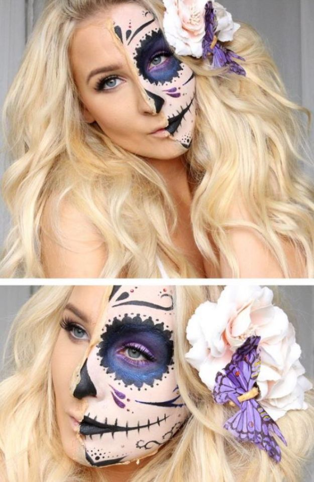 Best Halloween Makeup Tutorials - Half Sugar Skull Makeup - Easy Makeup Tips and Tutorial Ideas for The Best Halloween Costume - Animals, Eyes, Creative Faces, Simple and Scary Ghosts, Skeletons and Creatures - Zombie Makeup, Cute Looks, DIY Vampire, Gypsy, Mermaid and Creepy Sugar Skull, Cool Glam Looks for A Halloween Party and Instagram Photos - Ideas for Couples and Kids http://diyjoy.com/best-halloween-makeup-tutorials