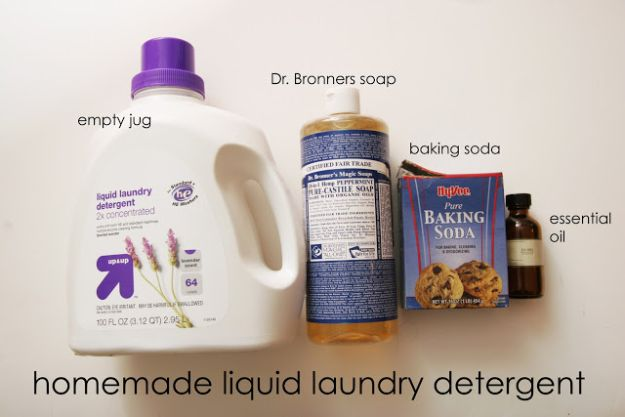 Laundry Detergent Recipes - Homemade All Natural Liquid Detergent - DIY Detergents and Cleaning Recipe Tutorials for Homemade Inexpensive Cleaners You Can Make At Home - Scented Powder and Liquid for He Washer - Save Money With These Cheap Ideas - Natural Products With Essential Oils - Baby, Sensitive Skin Detergent Free Ideas http://diyjoy.com/diy-laundry-detergent-recipes