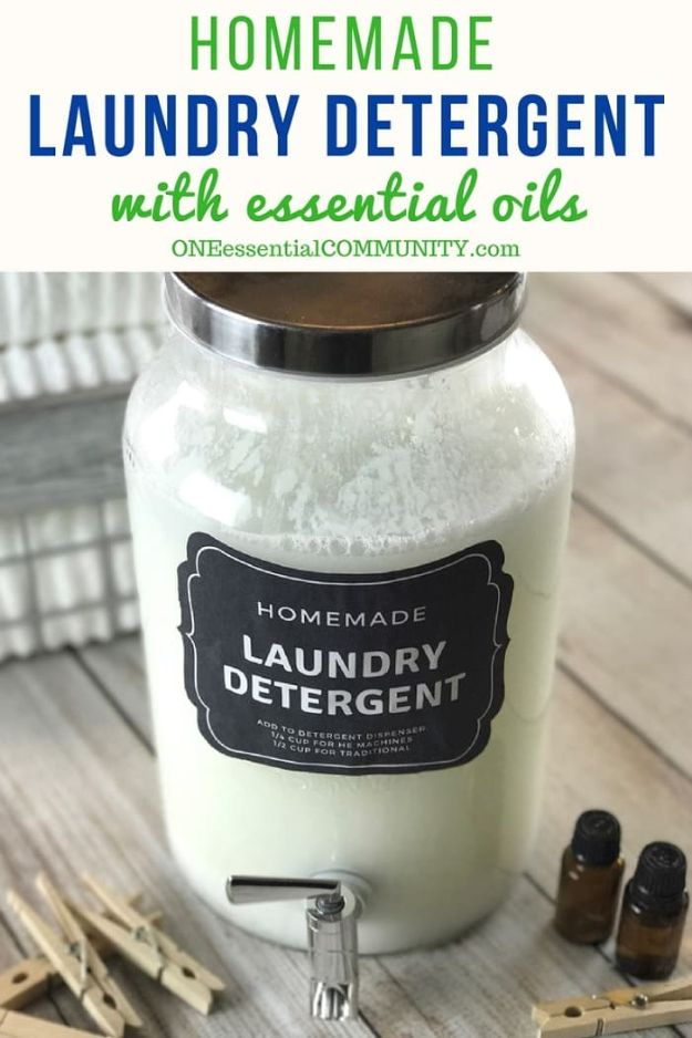Laundry Detergent Recipes - Homemade Laundry Detergent With Essential Oils - DIY Detergents and Cleaning Recipe Tutorials for Homemade Inexpensive Cleaners You Can Make At Home - Scented Powder and Liquid for He Washer - Save Money With These Cheap Ideas - Natural Products With Essential Oils - Baby, Sensitive Skin Detergent Free Ideas http://diyjoy.com/diy-laundry-detergent-recipes
