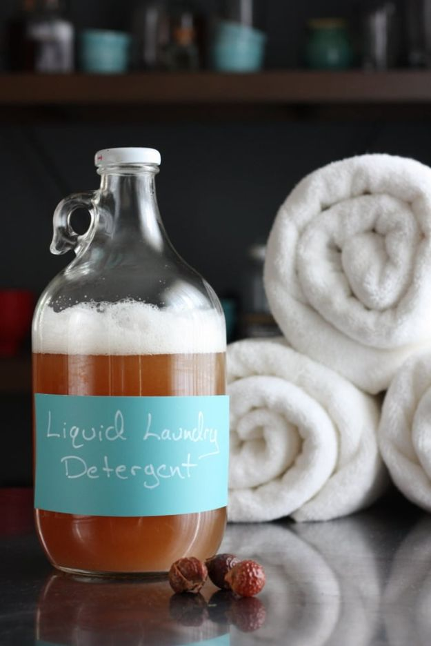 Laundry Detergent Recipes - Homemade Liquid Laundry Detergent With Soap Nuts - DIY Detergents and Cleaning Recipe Tutorials for Homemade Inexpensive Cleaners You Can Make At Home - Scented Powder and Liquid for He Washer - Save Money With These Cheap Ideas - Natural Products With Essential Oils - Baby, Sensitive Skin Detergent Free Ideas http://diyjoy.com/diy-laundry-detergent-recipes