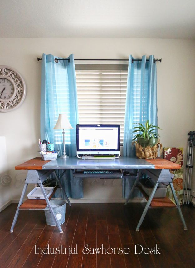DIY Desks - Industrial Sawhorse Desk - Easy To Make Do It Yourself Desk Projects With Step by Step tutorials - Rustic Wood Pallet, Farmhouse Style Furniture, Modern Design and Upcycling Makeover Project Plans - Standing Computer Desks, Ideas for Small Spaces and Home Office - Cheap Desks With Built In Organization, With Storage, With Hutch and Filing Cabinets http://diyjoy.com/diy-desks