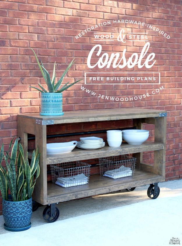 DIY Outdoor Furniture - Industrial Wood and Steel Console - Cheap and Easy Ideas for Patio and Porch Seating and Tables, Chairs, Sofas - How To Make Outdoor Furniture Projects on A Budget - Fmaily Friendly Decor Kids Love - Quick Projects to Make This Weekend - Swings, Pallet Tables, End Tables, Rocking Chairs, Daybeds and Benches