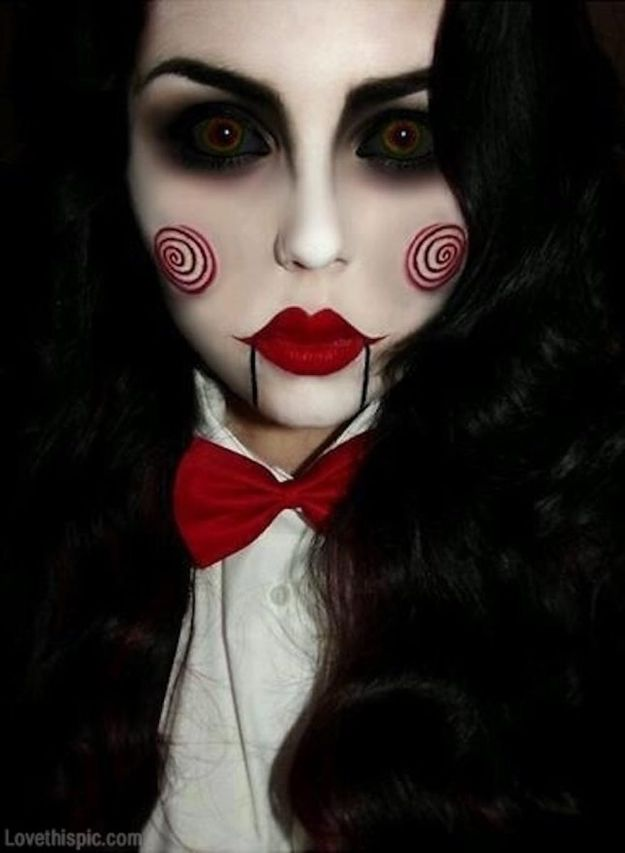 Best Halloween Makeup Tutorials - Jigsaw Makeup - Easy Makeup Tips and Tutorial Ideas for The Best Halloween Costume - Animals, Eyes, Creative Faces, Simple and Scary Ghosts, Skeletons and Creatures - Zombie Makeup, Cute Looks, DIY Vampire, Gypsy, Mermaid and Creepy Sugar Skull, Cool Glam Looks for A Halloween Party and Instagram Photos - Ideas for Couples and Kids